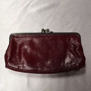 """Maroon Colored Hobo Wallet Compartments 8"""" x 4 Wmn"""